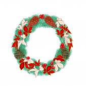 Christmas decoration wreath with pine cones vector — Stock Vector
