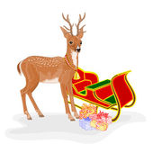 Christmas Reindeer with Santa's sleigh and gifts vector — Stock Vector