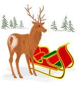 Christmas Reindeer with Santa sleigh vector — Stock Vector