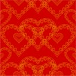 Valentines day seamless texture of gold hearts red background vector — Stock Vector #59556603
