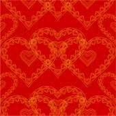 De dag van Valentijnskaarten naadloze textuur van gouden hart rode achtergrond vector — Stockvector