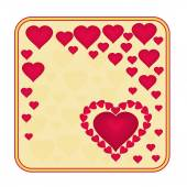 Valentine day frame of heart with ribbon golden background vector — Vector de stock