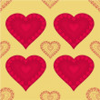Valentines day seamless texture  heart with hearts  gold background vector — Stock Vector #59891177