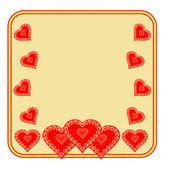 Valentine day frame of heart gold background vector — Vettoriale Stock