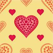 Valentines day seamless texture  hearts with roses gold background vector — Stock Vector