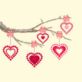 Valentines day hearts on a branch vector — Stock Vector