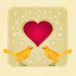 Frame hearts and two golden birds vector — Stok Vektör #61084161