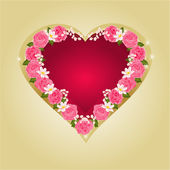 Heart with pink roses vector — Stockvector