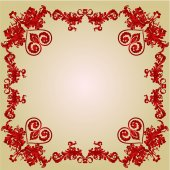 Valentines Hearts and ornaments vintage frame vector — Stock Vector