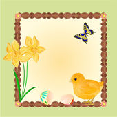 Easter chick with butterflies and daffodils vector — Stock Vector