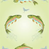 Seamless texture  American trout jumps  vector — Stock Vector