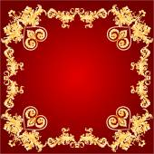 Valentines Hearts and ornaments red frame vector — ストックベクタ