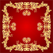 Heart frame red Greeting and ornaments vector — Vetor de Stock