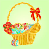 Easter wicker and easter eggs vector — Stock Vector