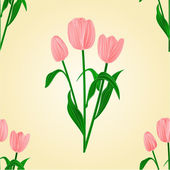 Seamless texture tulips spring background vector — Stock Vector