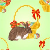 Seamless texture rabbit and wicker vector — Stock Vector