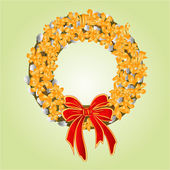 Easter wreath with pussy willow and forsythia vector — Stockvektor