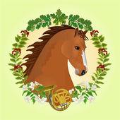 Chestnut horse hunting theme vector — Stock Vector