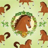 Seamless  texture hestnut horse  head of stallion vector — Stock Vector