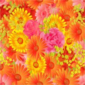 Seamless  texture gerbera and roses vector — Vettoriale Stock
