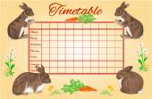 Timetable weekly schedule with rabbits vector — Stock Vector