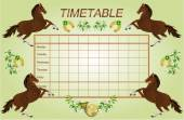 Timetable weekly schedule with dark brown horses vector — Stock Vector