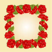 Frame with red hibiscus vector — Διανυσματικό Αρχείο