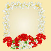 Frame with red hibiscus and jasmine vector — Διανυσματικό Αρχείο