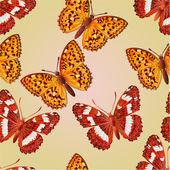 Seamless texture butterfly Limenitis camilla and Argynnis aglaja vector — Stock Vector