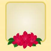 Golden frame with red rhododendron vector — Stock Vector