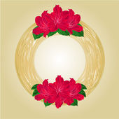 Wreath with red rhododendrons vector — Cтоковый вектор