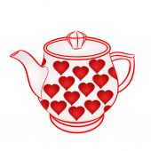 Teapot with red hearts vector — Stock Vector