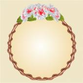 Round frame with whites hibiscus vector — Stock Vector