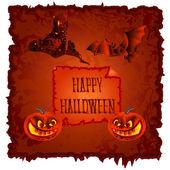 Mutlu Cadılar Bayramı Balkabağı ve perili Şato vektör — Stok Vektör