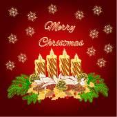 Feliz vela de Adviento Navidad guirnalda oro con vector blanco flor de Pascua — Vector de stock