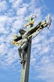 "Czech Republic. Prague. The sculpture ""Calvary"" on the Charles bridge — Stock Photo"