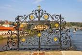 Czech Republic. Prague. The place of execution of St. John of Nepomuk on Charles bridge — Stock Photo