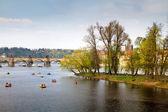 Czech Republic. Prague. Pleasure boats and catamarans on the Vltava river — Stock Photo