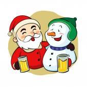 Drunk Santa Claus and snowman — Stock Vector