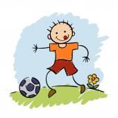 Chłopiec grać w piłkę nożną — Wektor stockowy