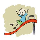 Boy playing slide — Stock Vector