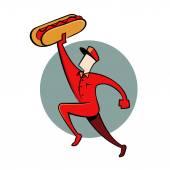 Hot Dog Guy — Stock Vector