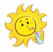 喝一杯水的太阳 — 图库矢量图片
