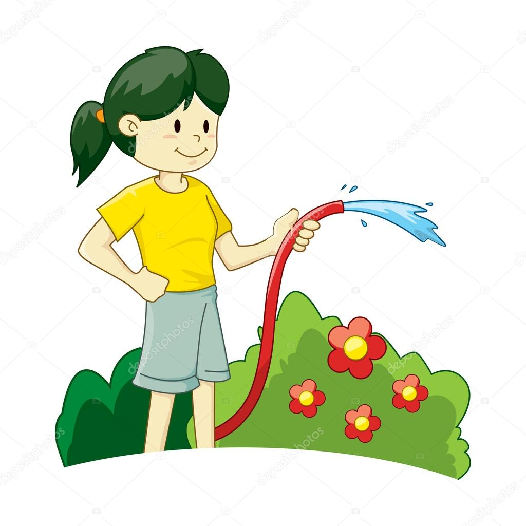 Girl Watering Plants Stock Vector 169 Yusak P 76201113