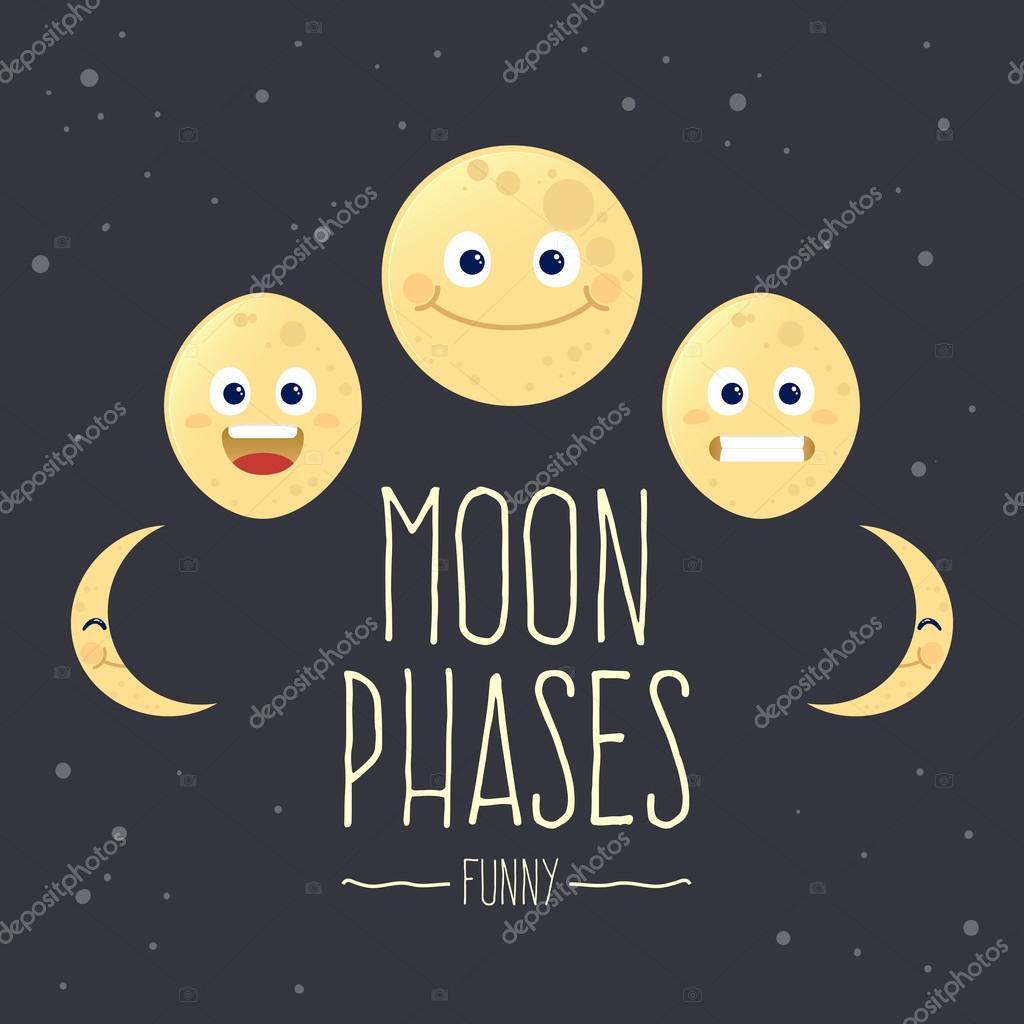 Fases de la luna de dibujos animados divertido — Vector de stock ...