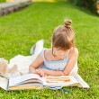 Portrait of adorable little girl resting outdoors and reading a book on a nice summer evening — Stock Photo #59231411
