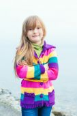Outdoor portrait of adorable little girl — Stock Photo
