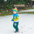 Winter portrait of a cute little boy under the snowfall, wearing christmas pullover and colorful hat — Stock Photo #65529773