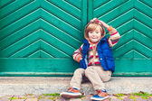 Outdoor portrait of a cute little boy, toned image — Stock Photo