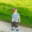 Cute toddler boy playing outdoor on a nice sunny evening, wearing shorts, white and blue top and shoes — Stock Photo #67857313